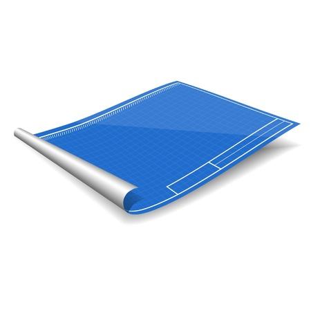 blank blueprint isolated on the white background