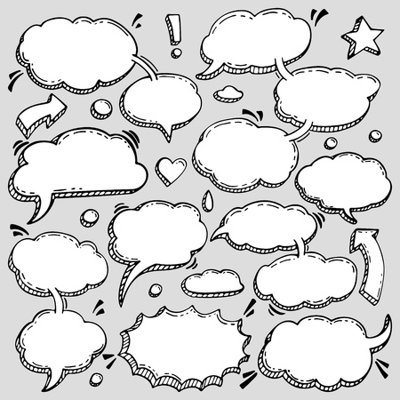 Illustration for A Few Utterances Vector Speech Bubbles Set. Collection of hand drawn design elements for your blog, social network posts. Easy to make photo collage, advertisement, citation design. - Royalty Free Image