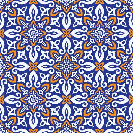 Illustration pour Ethnic style vector seamless pattern. Azulejos ceramic tile design. Talavera tracery motif. Portuguese, Spanish, Mexican, Brazilian folklore ornament. - image libre de droit