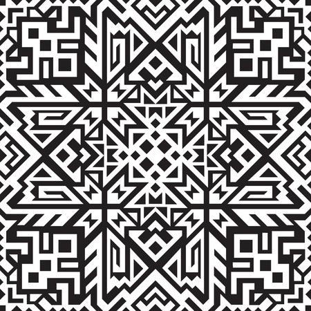Illustration pour Abstract geometric seamless pattern. Unique scandinavian design. Ethnic style repeat background. Creative tribal vector ornament. Trendy art tile. - image libre de droit