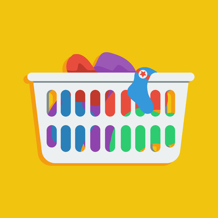 Illustration for Flat style icon of loundry basket with dirty clothes - Royalty Free Image