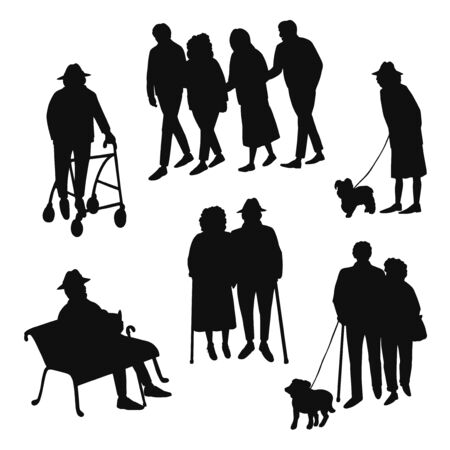 Vector set with illustrations of black silhouette old people walking