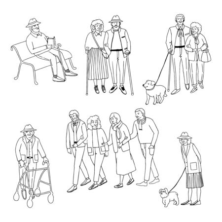 Vector outline set with illustrations of old people walking