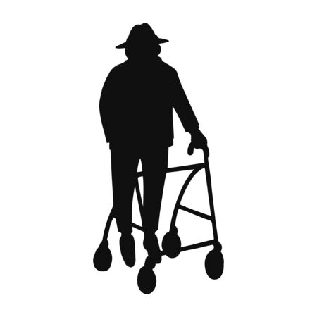 Vector illustration of black silhouette old man walking with rollator isolated on white background
