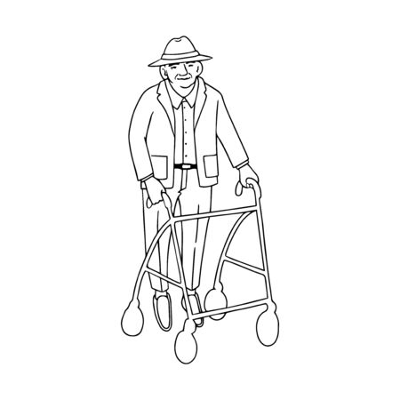 Vector outline illustration of old man walking with rollator isolated on white background