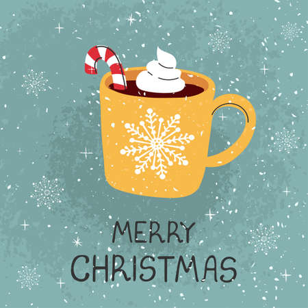 Photo pour Vector modern greeting card with colorful hand draw illustration of mug with cocoa and Christmas cane. Merry christmas. For design poster, card, banner, t-shirt print, invitation, greeting card - image libre de droit
