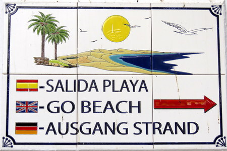 Sign to the Beach in Different Languages