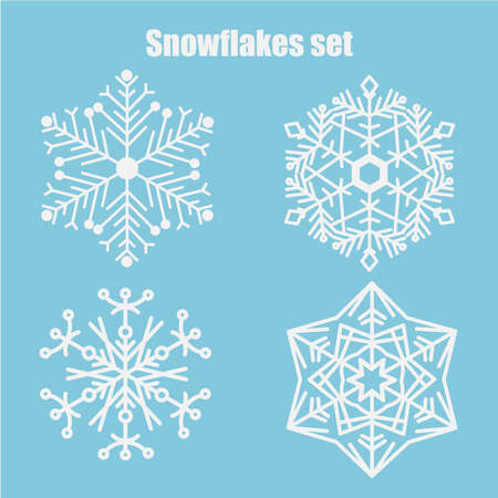 Illustration for Vector set of snowflakes on a blue background. Snowflake icons. Vector illustration of white snowflakes collection isolated on blue background. - Royalty Free Image