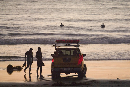 Lifeguard Patrol checking on surfers and swimmers at Venice Beach California