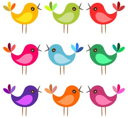 Illustration pour Cute colorful birds. Cartoon birds sing on white background. Vector illustration. - image libre de droit