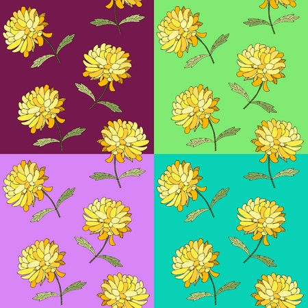 Colorful Floral Seamless Pattern With Chrysanthemum Flowers Vector