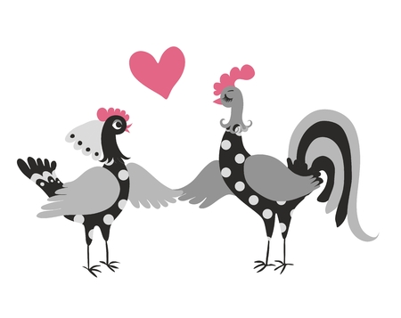 Illustration pour Wedding invitation with cute cartoon cock and hen. Year of the rooster.  2017. Chinese zodiac. Greeting card. Vector image. - image libre de droit