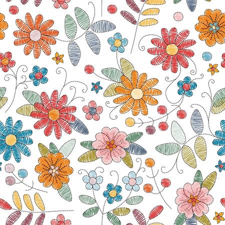 Ilustración de Embroidery seamless pattern with bright colorful flowers on white background. Vector illustration. - Imagen libre de derechos