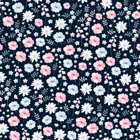 Ilustración de Ditsy floral seamless pattern in vector. Cute pink and blue flowers on dark background. Fashion print. - Imagen libre de derechos