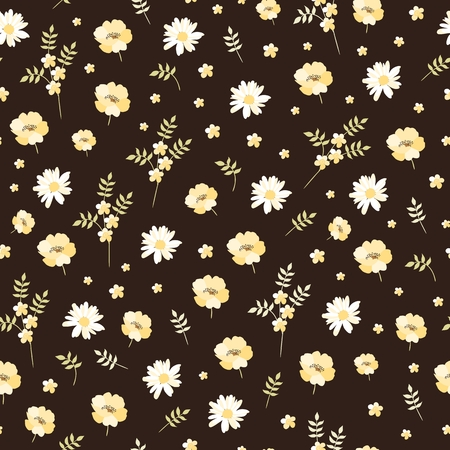 Illustration pour Cute seamless pattern with yellow and white flowers. Ditsy floral background in vector. - image libre de droit