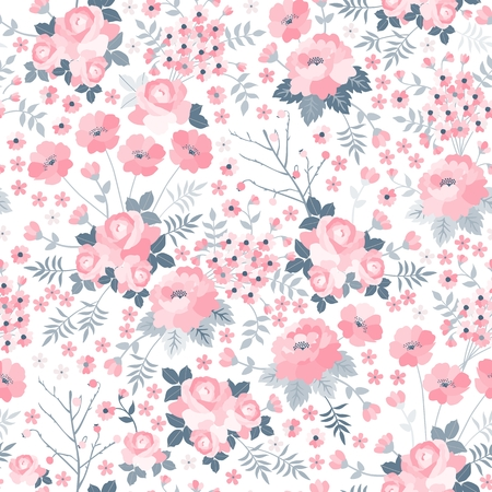 Illustration pour Tender seamless pattern with pink flowers on white background. Ditsy floral illustration. Print for fabric, wrapping paper, wallpaper, bedding in vector. - image libre de droit