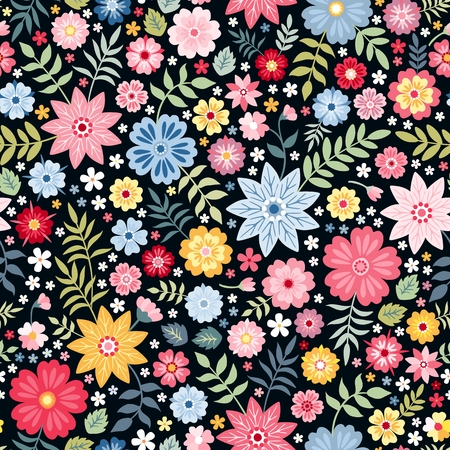 Ilustración de Seamless ditsy floral pattern with fantasy little flowers and leaves in folk style. Vector illustration. Print for fabric, paper, wallpaper, wrapping design. - Imagen libre de derechos