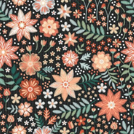 Illustration pour Beautiful seamless pattern with embroidered flowers and leaves. Print for fabric. Fashion design. - image libre de droit