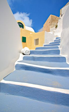Scene from Oia village on Santorini island, Greece