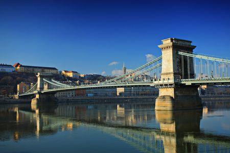 Chain bridge ( Szechenyi Lanchid ) on Danube river, Budapest, Hungary at daytime