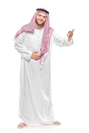 An arab person welcoming isolated on white background