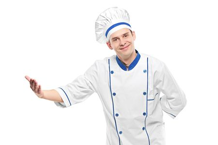 A chef welcoming isolated on white