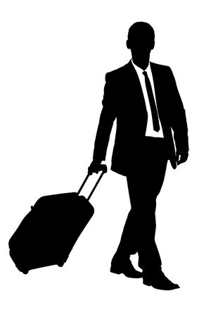 A silhouette of a business traveler carrying a suitcase isolated on white background