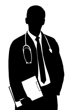 A silhouette of a doctor isolated against white background