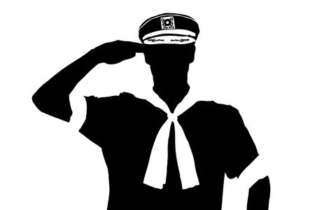 Foto per A silhouette of a sailor saluting isolated on white background - Immagine Royalty Free