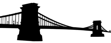 A silhouette of a Chain bridge (Szechenyi Lanchid) in Budapest, Hungary, isolated on white background