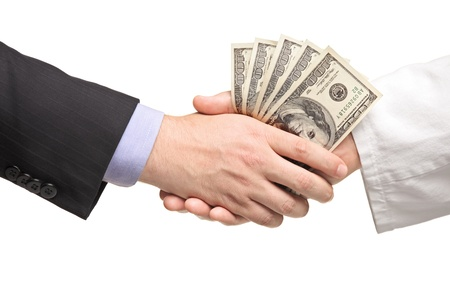 Businessman with money handshaking with doctor isolated on white background