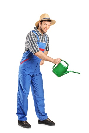 Full length portrait of a person with holding a watering can isolated on white background