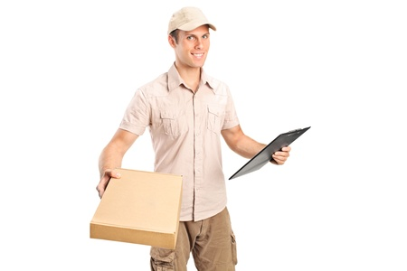 Delivery boy delivering a packet and holding a clipboard isolated on white background