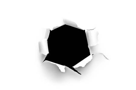 Sheet of paper with a round hole with black background inside