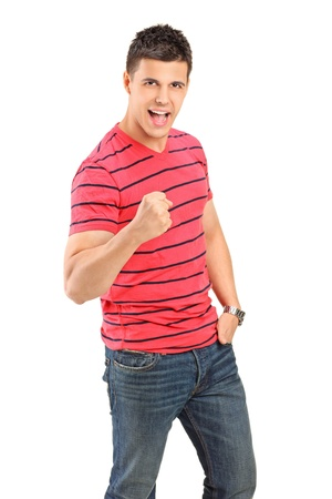 Young man cheering isolated on white background