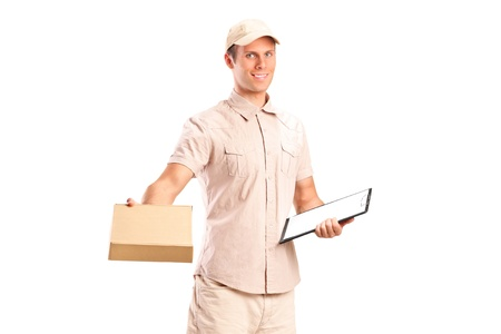 A delivery boy delivering a packet and holding a clipboard isolated on white background