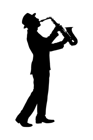 Photo for A silhouette of a full length portrait of a man in a suit playing on saxophone isolated against background - Royalty Free Image