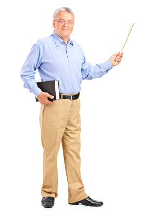Foto de Full length portrait of a male teacher holding a wand and book isolated on white background - Imagen libre de derechos