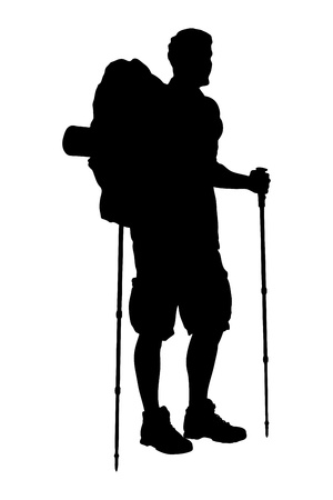 A silhouette of a full length portrait of a hiker with backpack holding hiking poles isolated on white background