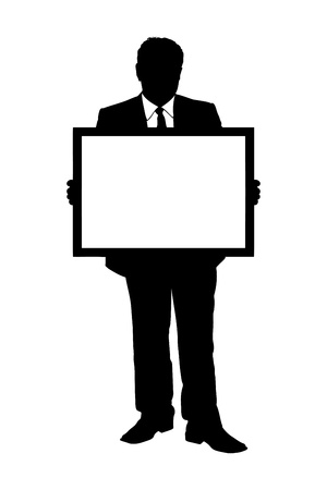 A silhouette of a full length portrait of a mature man holding a white panel isolated on white background