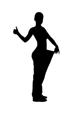 Ilustración de A silhouette of a full length portrait of a weightloss woman giving a thumb up isolated on white background - Imagen libre de derechos