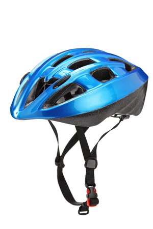 Photo for Blue helmet for byciclists isolated on white background - Royalty Free Image