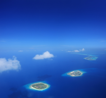 Aerial view of Maldives islands in Indian ocean shot with a tilt and shift lens