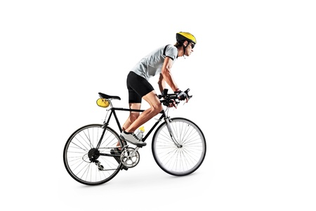 A male bicyclist riding a bike isolated on white background