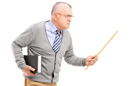 An angry mature teacher holding a wand and gesturing isolated against white