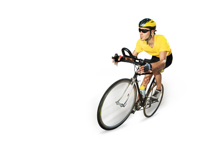 Male cyclist riding a bike isolated on white background