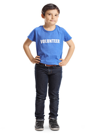 Photo pour Full length portrait of a child volunteer posing isolated on white - image libre de droit