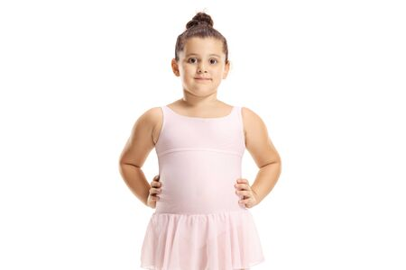 Photo pour Cute little girl in a pink ballet dress isolated on white - image libre de droit