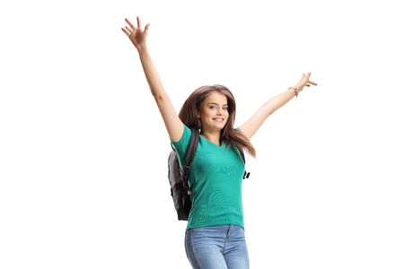 Photo for Happy female student with backpack jumping isolated on white background - Royalty Free Image