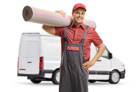Photo pour Worker from a carpet cleaning company with a van isolated on white background - image libre de droit